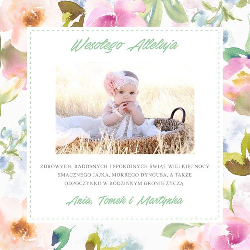 Kartki wielkanocne ze zdjęciem i motywem pięknych kwiatów malowanych akwarelami w pastelowych barwach przód karty dwustronnej