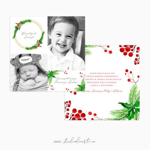 Karty świąteczne z Twoimi zdjęciami i bożonarodzeniowymi motywami roślinnymi