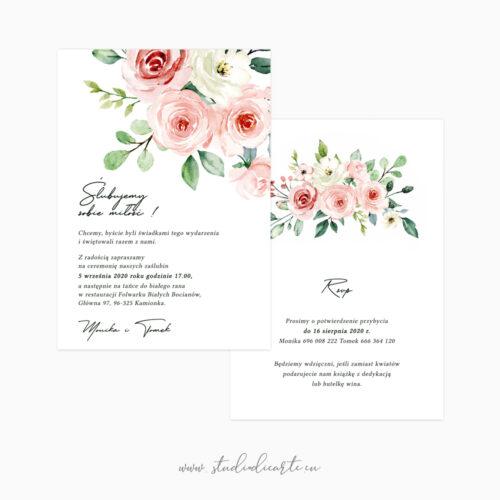 pastelowe zaproszenia na ślub