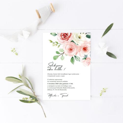 pastelowe zaproszenia ślubne z motywem róż malowanych akwarelami