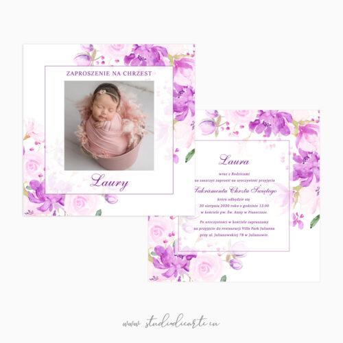 kwiatowe zaproszenia na chrzest ze zdjęciem dziecka - karta dwustronna 14 x 14 cm