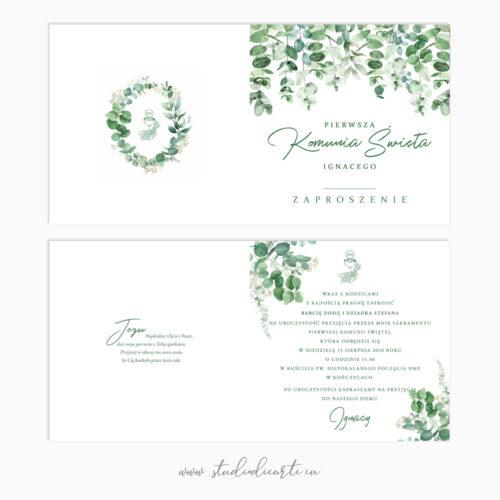 personalizowane zaproszenia na komunię z motywem botanicznym karta sładana