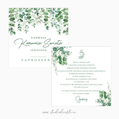 personalizowane zaproszenia na komunię z motywem botanicznym karta dwustronna 14 x 14 cm