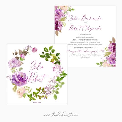 Romantyczne i rustykalne zaproszenia ślubne z pięknym motywem kwiatów malowanych akwarelami - karta dwustronna 14 x 14 cm
