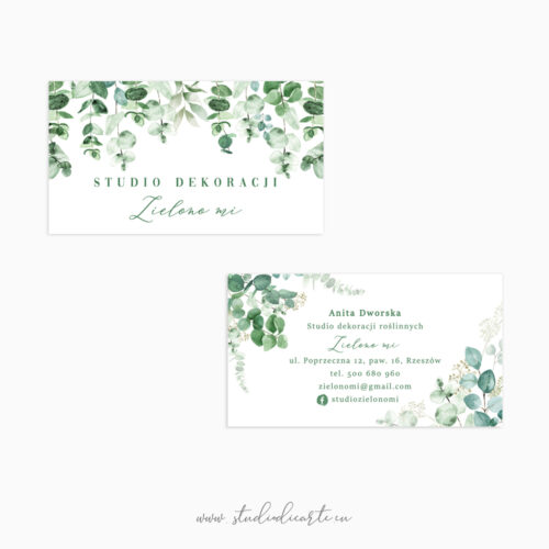 wizytówki dla kwiaciarni florystki okolicznościowej ślubnej