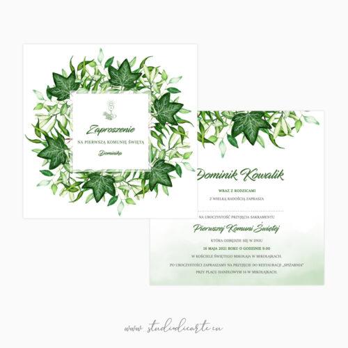Eleganckie zaproszenia komunijne z motywem liści bluszczu