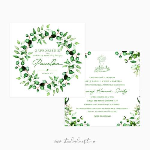 zaproszenia na komunię z wiankiem z zielonych listków
